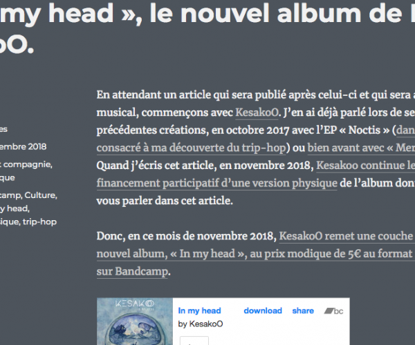 Chronique de l'album In My Head par Frédéric BEZIES