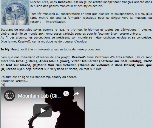 Petit article de Trip-hop.net sur l'album In My Head
