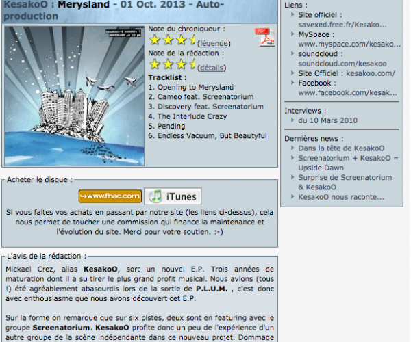 Article de Trip-hop.net sur l'album Merysland